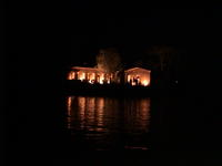 A lit up island
