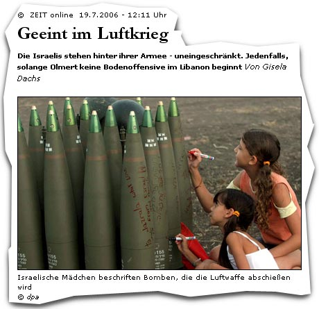 Israel Kinder Granaten aus: Die Zeit, Bild: (c)dpa