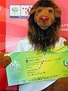 Goleo mit WM-Ticket