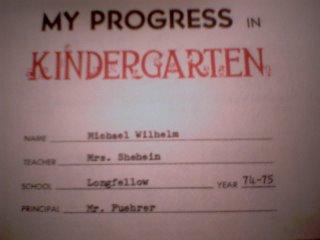kindergarten report card - Mr. Fuehrer, Principal