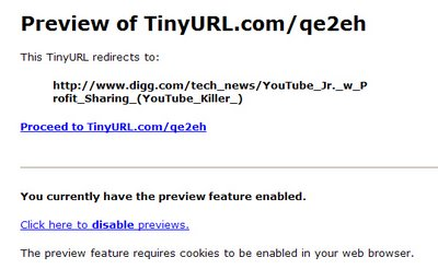 Preview a TinyURL
