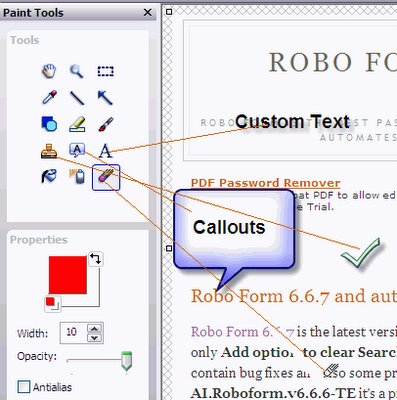 Paint tools in Snagit