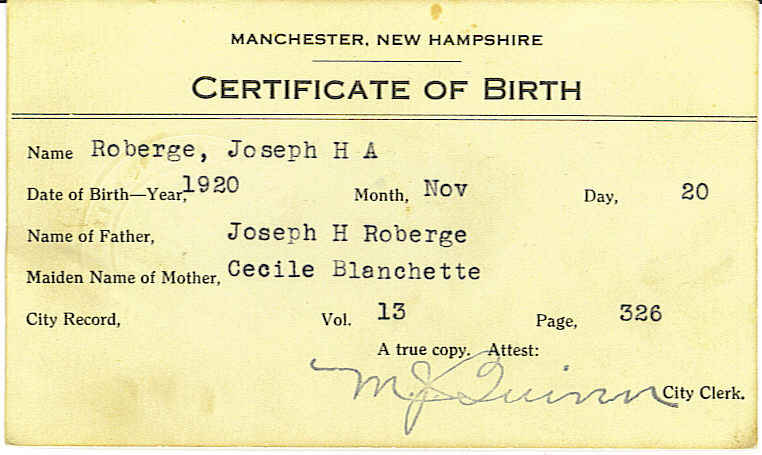 Roberge Genealogy