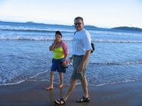 Dave and mother-in-law on Geriba Beach, Búzios, Brazil