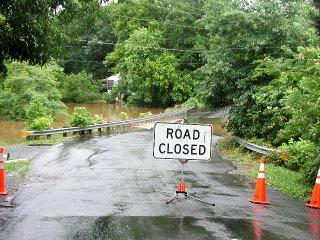 Lake Drive in Manassas, VA flooded by Bull Run Creek