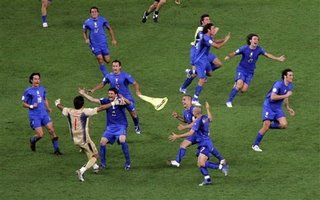 Italian team celebrating after the shootout...