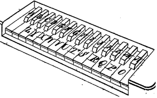 Keyboard of Hughes-Phelps printing telegraph