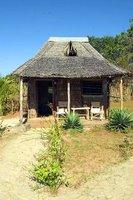 A beach hut or 'banda' of Diamond Beach Village, Manda Island, East Coast, Kenya