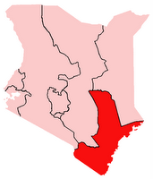 Map of Coast Province, Kenya