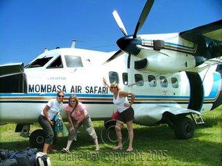 The girls, before boarding our air taxi, Masai Mara, Kenya safari