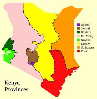 Map of Kenya Provinces