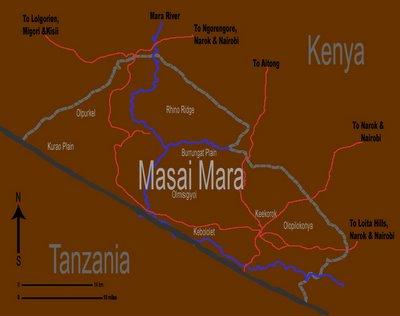 Map of Masai Mara, Kenya