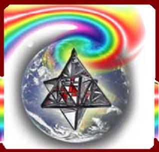 Tierra envuelta en Arco Iris y su MERKABA funcionando.
