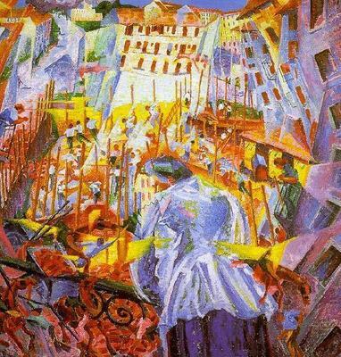 La calle entrando en la casa (1911). Umberto Boccioni