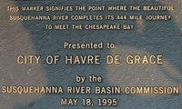 Plaque for end of Susquehanna River to the Chesapeake Bay