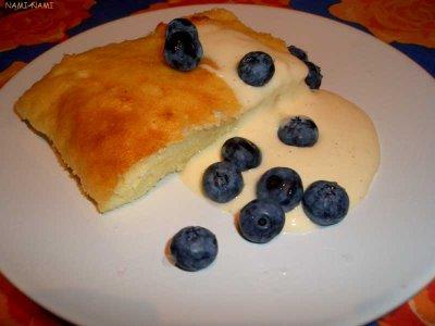 ... food: Baked Semolina Pudding with Vanilla Custard and Blueberries