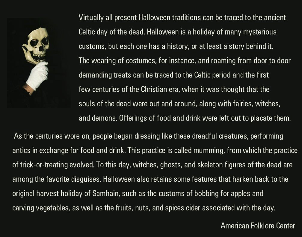 they just simply report facts about american folklore i hope this slide is large enough for you to read it here is what they say about halloween