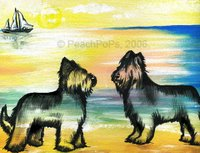 Briard Dog Painting with Beach