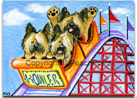 Briard Dogs on roller-coaster painting