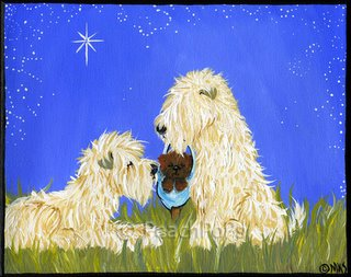 wheaten terrier dog nativity painting