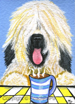 Briard Dog with expresso painting