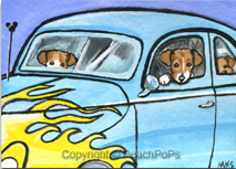 mini painting of Jack Russel Terrier Dogs in a hot rod