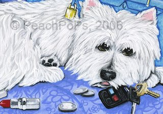 Westie Dog with keys Painting