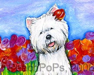 Westie Dog with flowers
