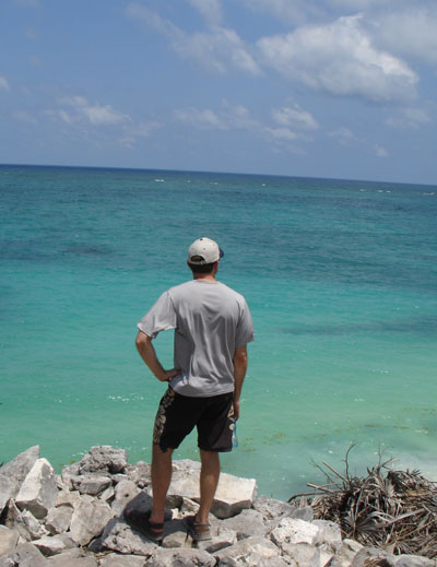 I'm overlooking the shore off Tulum, Mexico