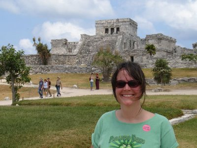 Vickey in front of the Mayan temple at Tulum