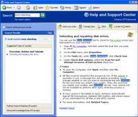 Error Check help screen, WinXP