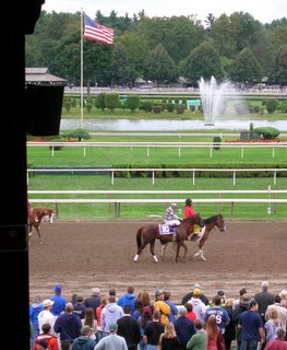 Funny Cide loading for the 2006 Woodward Stakes