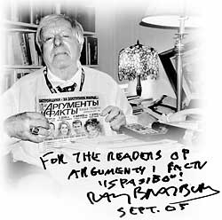 Ray Bradbury with autographed edition of AiF