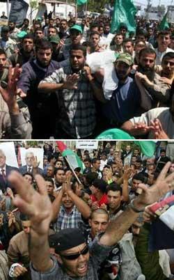 A dalt, enterrament del militant de Hamas Mahmoud Tatar mort en un enfrontament amb pressumptes membres de Fatah. A sota, empleats de l'Autoritat Palestina manifestant-se contra el govern de Hamas perquè encara no han cobrat el sou.
