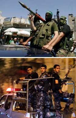 A dalt, membres del nou cos de seguretat creat pel govern de Hamas patrullant per Gaza. A sota, les forces de seguretat del president palestí desplegant-se ahir a la nit per totes les localitats de la franja de Gaza en resposta a la decissió de Hamas.
