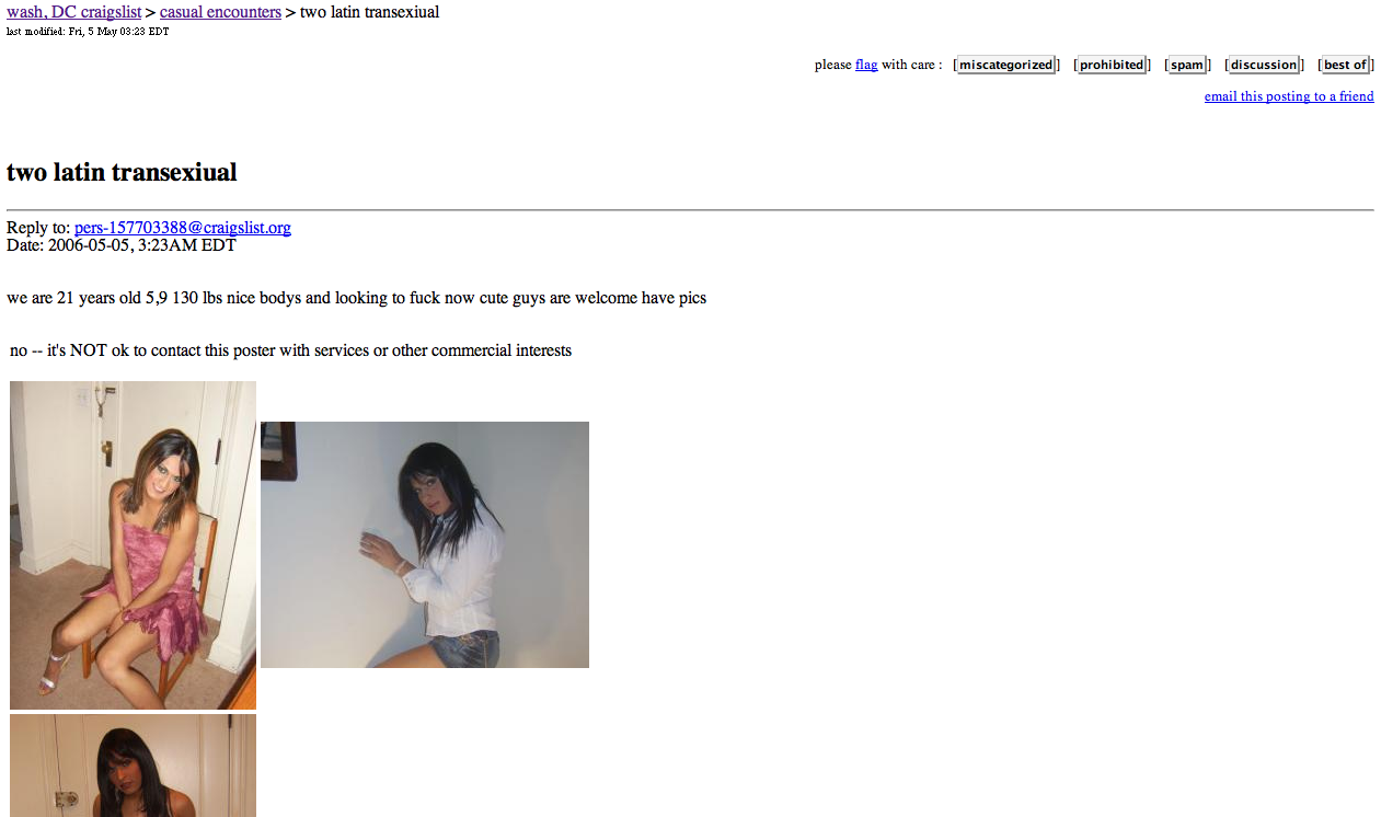 Apparently it was an exciting night on Craigslist: