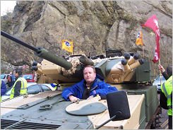 Mark Pritchard in a tank
