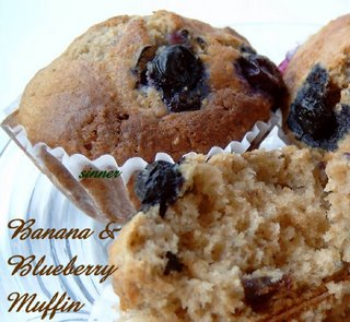 banana and blueberry muffin