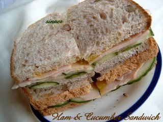 ham and cucumber wholemeal sandwich