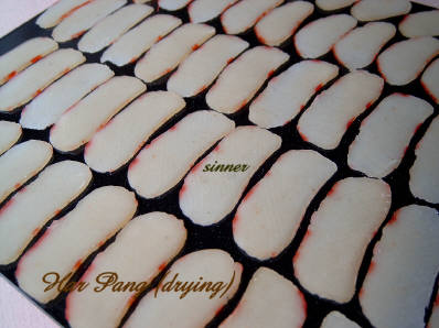 Sliced, uncooked har pang