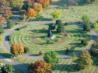 aerial view of Arlington National Cemetery
