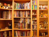 A very filled up bookcase with all my books and my wife soft toys