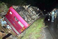 TURNED TURTLE: The campus bus which overturned and landed in a ditch during the return journey from Cameron Highlands on Saturday.