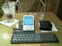 My Palm Tungsten T3 and Palm IR wireless keyboard at Coffee Bean in MidValley Megamall
