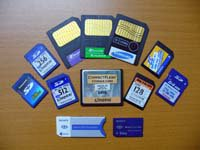 The various digital storage cards that I own - compact flash, SmartMedia, SD/MMC cards and Sony memory stick.