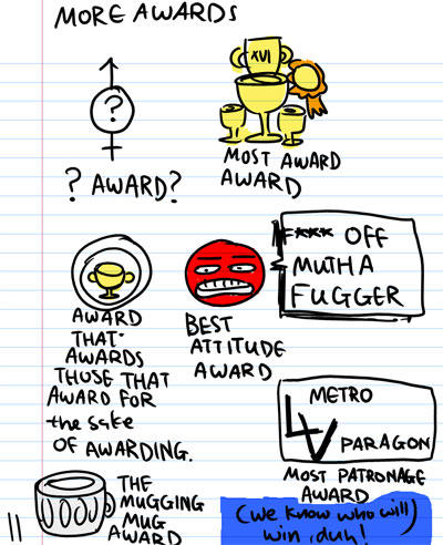 More Awards! - ? Award ? - Most Award Award - Awards that Awards those that Award for the sake of Awarding -  Best Attitude Award. F*** of Mutha Fugger - The Mugging Mug Award - LV Metro Paragon. Most Patronage Award (We know who will win, Duh!)