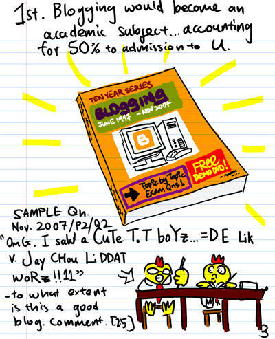 1st, Blogging would become an academic subject...Accounting for 50% admission to U. - Ten Year Series Blogging - July 1997 - November 2007 - Topic by Topic Exam Questions! - Sample Question : Nov 2007/P2/Q2 - OmG. I saW a CuTe T.T boYz...=D E Lik v. Jay CHou LiDDAT woRz!!11 - To what extent is this a good blog. Comment. [25 marks]