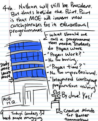 4th, Nathan will still be president. But thats beside the Point. Point is that MOE will invent new catchphrases for its educational programmes. - What should we call a programme that makes students do Project Work - Project Work? - No. Too boring. - Project Time? - No. Too unprofessional. - Integrated workgroup preparation training? - By Jove! Yes! - Study more learn more - Creative minds for better tomorrow - MOE HQ - Today's Leaders need more mugging.