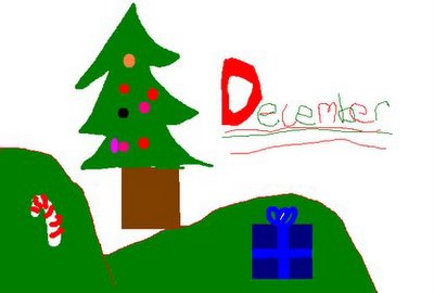 My daughter has become quite the artist with MS Paint.  She created this special Christmas wallpaper for her account, and I just had to share it with you.