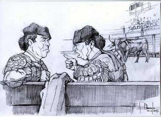 Cúchares y El Chiclanero discuten sobre la antigüedad de sus alternativas (Dibujo: Facundo)
